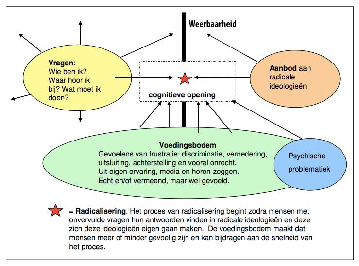 b5f0a5637044dd De handreiking bevat het volgende vraag-aanbod model ter illustratie van  factoren die een rol spelen bij radicalisering